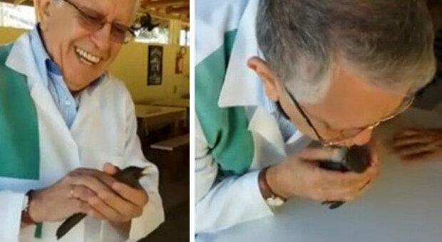 Doktor provedl umělé dýchání malého ptáka a přivedl ho zpět k životu
