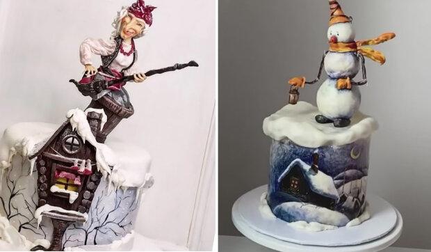 Velmi krásné zimní dortů, které si chtějí prohlížet, a nejíst