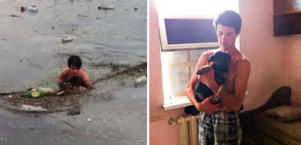 Ten chlap vylezl do jámy se špinavou vodou a odpadky, aby zachránit štěně