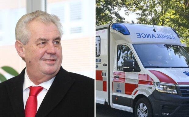 Miloše Zemana vezla speciální moderní sanitka: Prezident skončil v nemocnici. Co se stalo