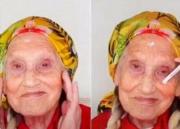 Falešné řasy, vlasy a světlá rtěnka: stylistka vytvořila  babičce mládežnický obraz