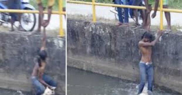 """""""Bez váhání jsem skočil dolů"""": Chlapec zaslechl vytí, které se neslo z průplavu a pospíšil k pomocí"""