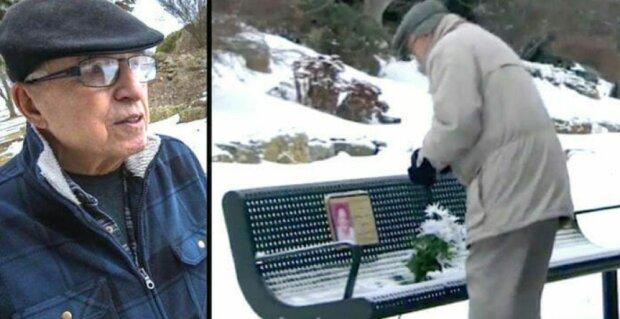 Starší muž každý den nosil květiny k lavičce své zesnulé manželky, ale v zimě bylo hodně sněhu: čin dvou cizích lidí ho dojal k slzám