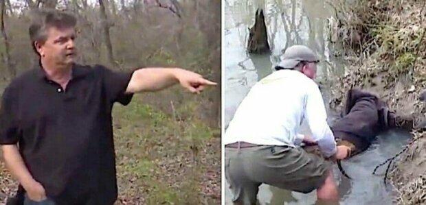 Při procházce v parku muž zasekl zvíře v nouzi. Když přistoupil blíž k řece, uvědomil si, že sám se nedokáže zahranit zvíře